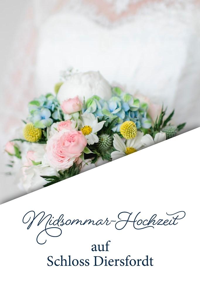 Blumenstrauss einer Midsommar Hochzeit auf Schloss Diersfordt