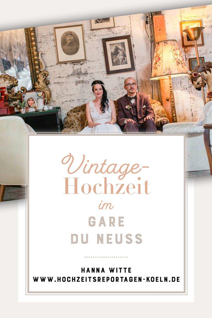 Paarfoto einer Vintage Hochzeit im Gare du Neuss