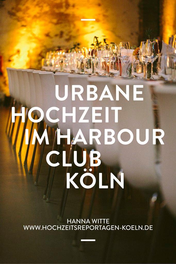 Tischdeko einer urbanen Hochzeit im Harbour Club in Köln