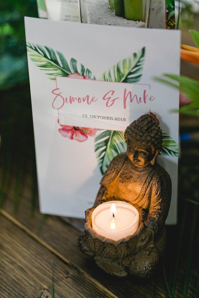 Hochzeitsfoto tropische Papeterie