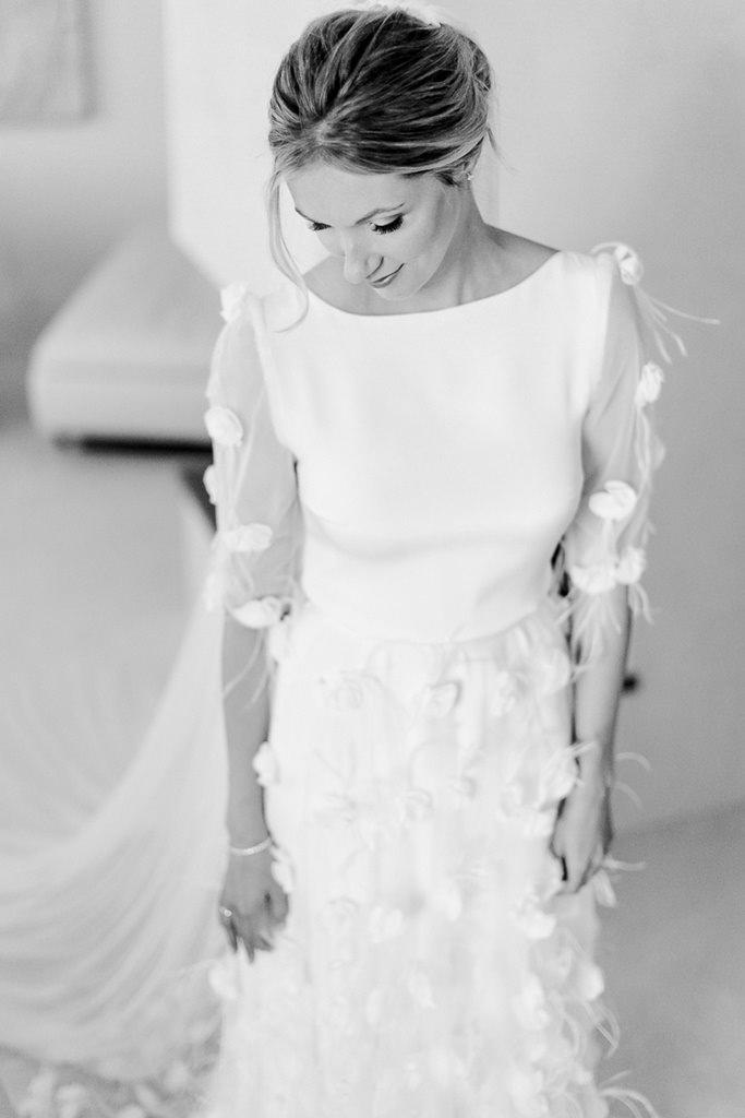 Brautportrait in schwarz-weiß