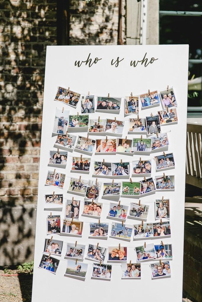 Hochzeitsidee: Fotocollage mit Bildern vom Brautpaar mit Freunden und Familie | Hochzeitsfoto: Hanna Witte